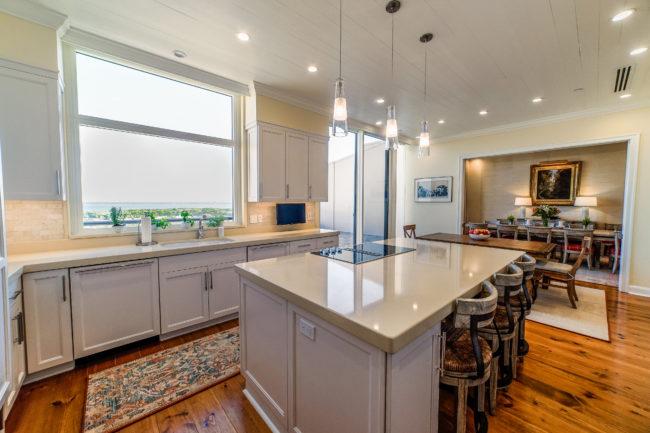 photograph of beautiful modern kitchen with island
